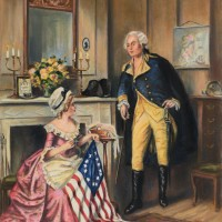 Drawing of George Washington Conversing with Betsy Ross